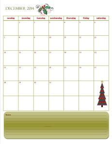 Monthly Calendar December 2014