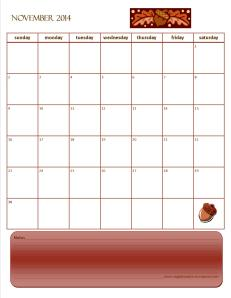 Monthly Calendar Novemebr 2014