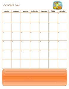 Monthly Calendar October 2014